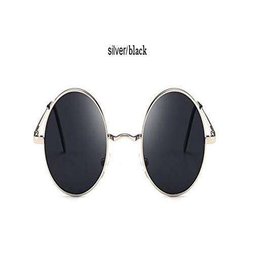 FGRYGF-eyewear2 Sport-Sonnenbrillen, Vintage Sonnenbrillen, Classic Driving Polarized Round Sunglasses Männer Retro John Lennon Glasses WoMänner Metal Spring Leg Eyeglasses 8831 Silver Black