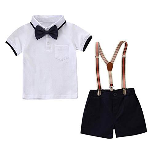 Kinderkleidung, Babykleidung Set Kleinkind Kinder Baby Boy Junge Revers Kurzarm Polo Hemd Tops + Jeans Set Bekleidungsset (120, Weiß)