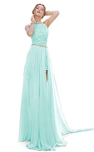 MisShow® Damen Neckholder Rückenfrei ärmellos Abendkleid Brautjungfernkleid Bodenlang Maxikleid Mint-grün - Mint Frauen Für Grün-kleid