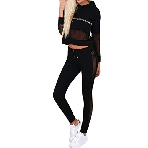 Feifish Damen Trainingsanzug Sweatshirt Hosen Sets Langarm Sweatshirt + Lange Hose Sportswear 2 Stück Set Sport Yoga Outfit Jogginganzug Trendiger Freizeitanzug Sets -
