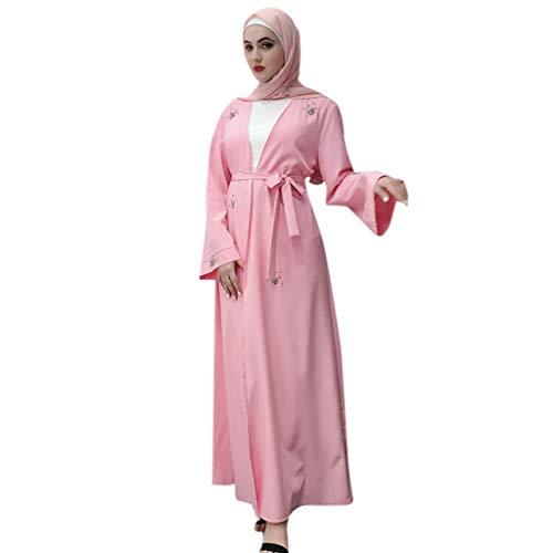 Lazzboy Frauen Durchbrochene Bestickte Langes Kleid Open Abaya Cardigan Muslim Dubai Damen Maxikleid Türkischer Trompetenärmel Lange Kleider Tunika Kostüm - Einfache Kostüm Tv Zeichen