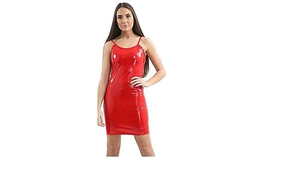 NEW Ladies Women PVC Slinky Leather Wet Look Vinyl Night Club Mini Bodycon Dress