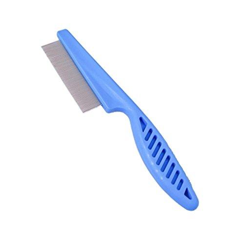 Welim Peine de pulgas para mascotas, cepillo de limpieza de pulgas de acero, cepillo de pelo para mascotas, peine para perros o gatos, color azul