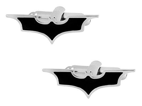 Die Jewelbox glänzend lang Batman Logo schwarz Emaille Silber rhodiniert Messing Manschettenknöpfe Paar für Herren