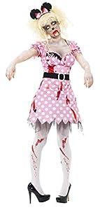Smiffys Disfraz de roedora Zombi, Rosa, con Vestido, cinturón y Diadema