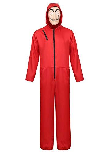 Josamogre Haus des Geldes Kostüm Overall mit Dali Maske Kostüme Jumpsuit Halloween Cosplay Rot m