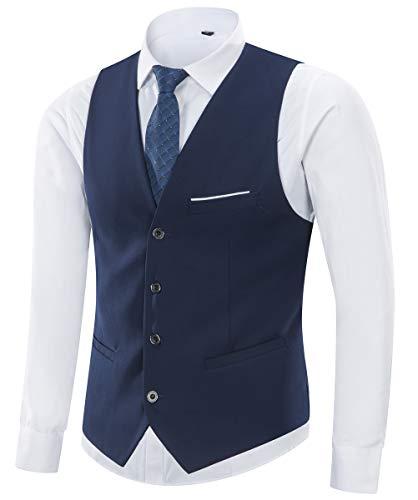 Yingqible Chaleco Hombre Casual Boda V-Cuello Traje Negocios con Botones Sin Mangas Retro Vestir Banquete Ceremonia Blazers (Small, Azul Marino)
