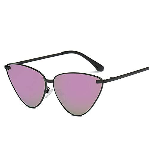Yiph-Sunglass Sonnenbrillen Mode Vintage Cat Eye gespiegelte Flache Linsen Metallrahmen Sonnenbrille UV400 für Frauen (Artikelnummer : Hc2054e)