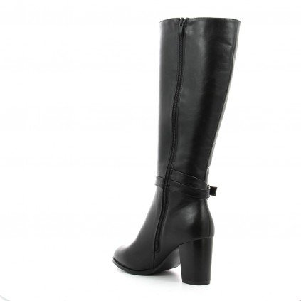 Ideal Shoes - Bottes avec tour de pied ceinturé aspect cuir Diane Noir