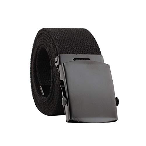 Cinturón Hombre Hebilla Automática 2019 Nuevo SHOBDW Lona Cinturón Táctico Militar Mujer Ajustable Cintura Nylon Cinturón Hombre Elastico Trenzado Cinturón Hombre Trabajo 130CM(Negro)