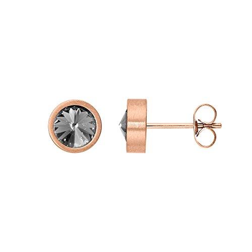 men Coma aus Edelstahl rosegold farbend matt Ohrstecker für Frauen mit Swarovski Stein Kristall black diamond grau im Fantasie Edelsteinschliff 6mm ()