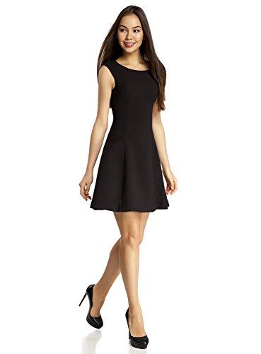oodji Ultra Damen Kleid aus Festem Stoff mit O-Ausschnitt Schwarz (2900N)