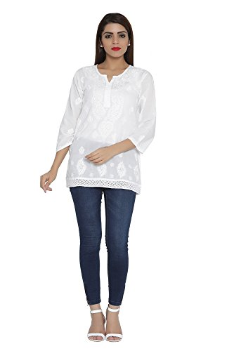 ADA Handcrafted Lucknow Chikan Regular Wear Cotton Short Top Tunic A208704 (White)...