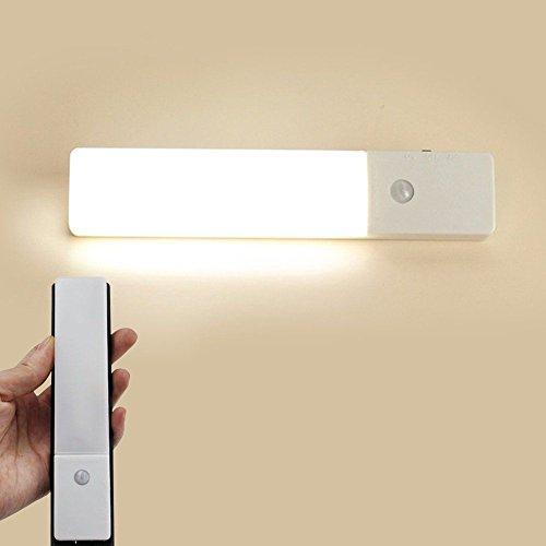 Togather® Lampada da parete a LED ricaricabile sensore Cabinet Lights luce e movimento 3-Modes USB Luce notturna senza fili per Corridoio Scale armadio guardaroba-caldo Bianco