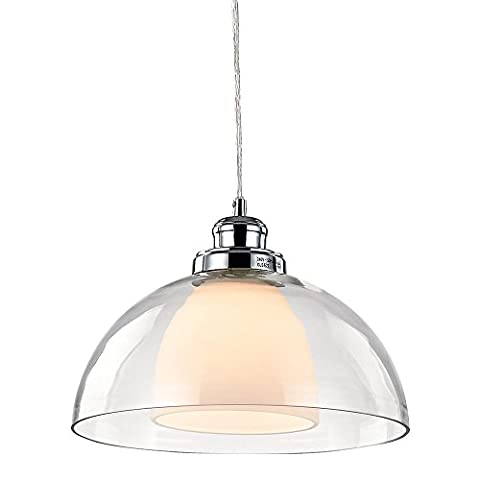 Modern Double Glass Pendant Ceiling Light with Clear Cable by Haysoms