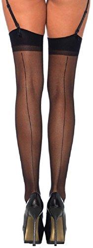 Netzstrümpfe Strapsstrümpfe Schwarz (Leg Avenue Damen plus size Straps Strümpfe aus Nylon schwarz transparent Größe ca. 42)