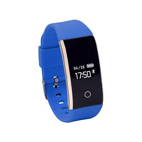 Haihuic Smartwatch Herzfrequenz/Blutdruck / Schlaf-Monitor, Schritt Kalorien Zähler Schrittzähler Wasserdichter Fitness Tracker für iPhone Android |Blau - Kalorien Zähler-monitor
