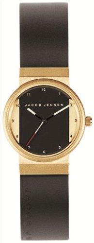 Jacob Jensen New Series Women's Quartz Watch with Multicolour Dial Analogue Display and Black Rubber Strap 744