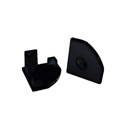 2x Endkappen Schwarz fuer das LED Alu-Modell ECKE-45 von Alumino eins ohne und eins mit Bohrung fuer das LED-Kabel -