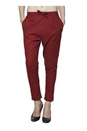 Pistaa Women`s Cotton Slub Maroon Color premium Quality Cotton Slub Solid Readymade Casual Ethnic Cigratte Pant Bottom