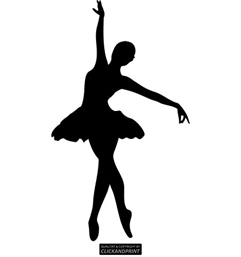 CLICKANDPRINT Aufkleber » Ballerina, 20x11,5cm, Schwarz • Wandtattoo/Wandaufkleber/Wandsticker/Wanddeko/Vinyl