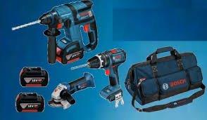 Bosch GBH 18 V-EC + Trapano GSB 18 V-LI + Smerigliatrice GWS 18 V-LI + 3pz Batterie 4h + caricabatterie