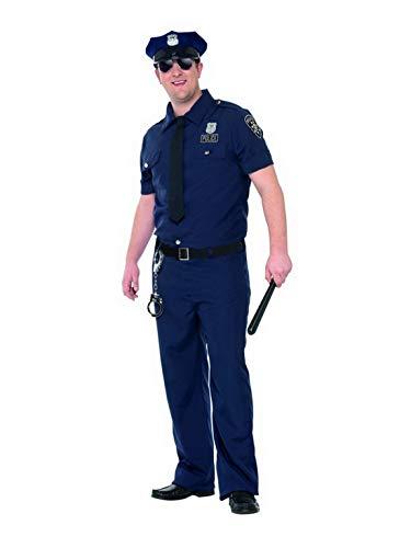 n Männer Curves NYPD Polizei Polizist Kostüm mit Hose Hemd Krawatte Gürtel und Mütze, perfekt für Karneval, Fasching und Fastnacht, 2XL, Blau ()