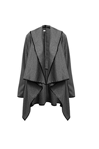 Les Femmes Les Col - Tunique De Laine Vêtements Manteau Chaud Irréguliers Xxl Grey