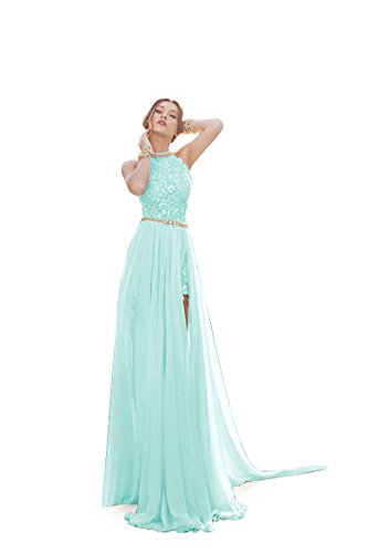 MisShow Damen Neckholder Rückenfrei ärmellos Abendkleid Brautjungfernkleid Bodenlang Maxikleid Mint-grün 38 - Für Mint Frauen Grün-kleid