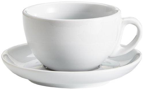 Viva Haushaltswaren 2 dickwandige große Cappuccinotassen aus weißem Porzellan 0,28l in 2. Wahl