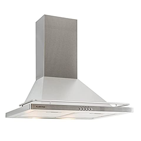 Klarstein Timea Extractor Hook • Cooker Hood • Exhaust Hood • 60cm, 416m³/h Extraction Rate • 3 Power Levels • Low Operating Noise • Recirculation Mode • Energy Efficiency Class E • Switchable Halogen Lighting • Stainless Steel Case • Silver