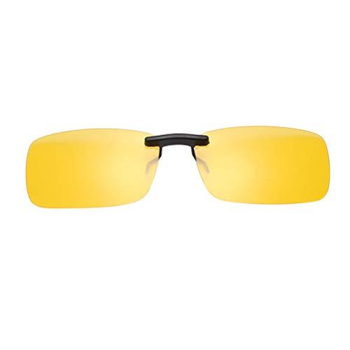 Mode ultraleichte Sonnenbrille Clip Nachtsichtbrille für Männer und Frauen Fahrer (groß, Nachtsichtfilm, Gelb)