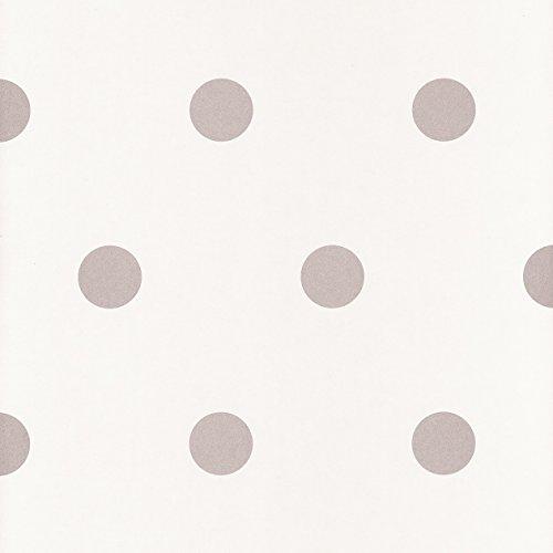 Caselio Shades 67799099 - Papel pintado con lunares de 5 cm aprox con el fondo en color blanco roto y dibujos metalizados plateados