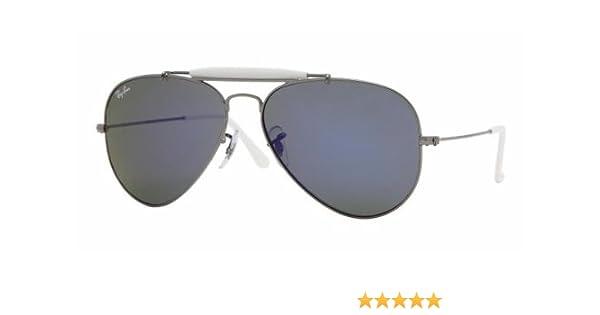 25c30523c5 Ray Ban Men s Rb3407 Outdoorsman Ii Rainbow Gunmetal Frame Blue Mirror Lens  Metal Sunglasses