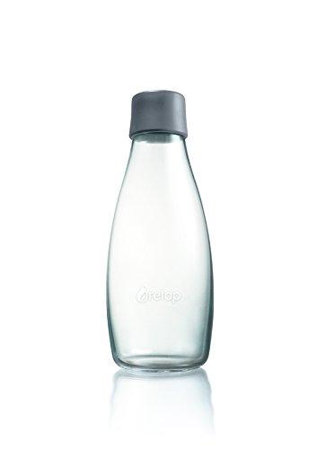 Retap ApS 0.5 Litre Medium Borosilicate Glass Water Bottle, Grey
