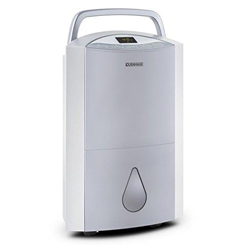 Duramaxx DryBest - Deshumidificador portátil 20 l/día (330W, purificador de aire integrado, filtro limpieza aire, función ventilador, 4 ruedas)