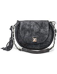 Petit sac pochette cuir de vachette vieilli souple irisé noir