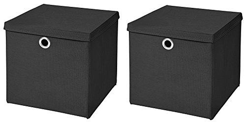 2 Boxen Schwarz Faltbox 28 x 28 x 28 cm Aufbewahrungsbox faltbar mit Deckel (Quadratische Aufbewahrungsbox)