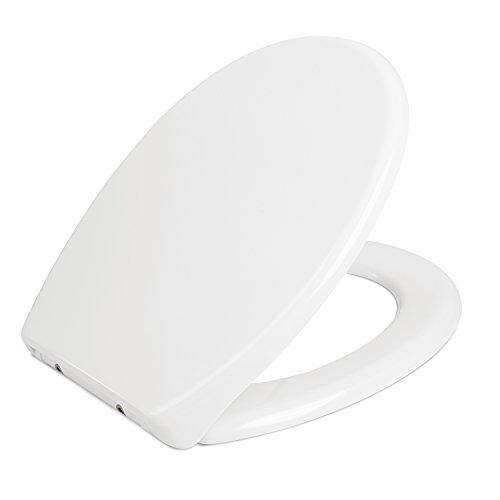HOMFA WC Sitz mit Absenkautomatik Duroplast Quick-Release Edelstahl Scharniere Antibac Weiß