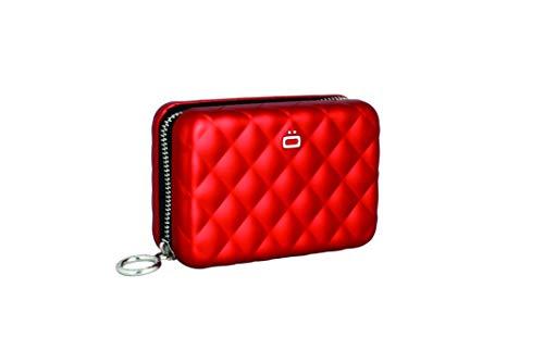 a9ac72c110 ÖGON QZ-Red Tarjetero Quilted Zipper Aluminio Anodizado Gran Capacidad Rojo