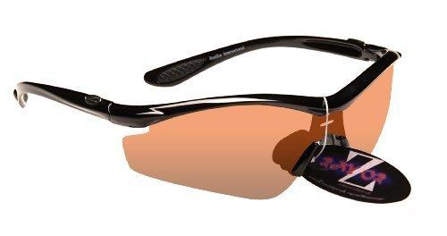 Rayzor professionnel léger UV400 Noir Sport Wrap Golf Lunettes de soleil, avec un 1 Piece Lumière Améliorer ambre clair anti-reflet lentille.