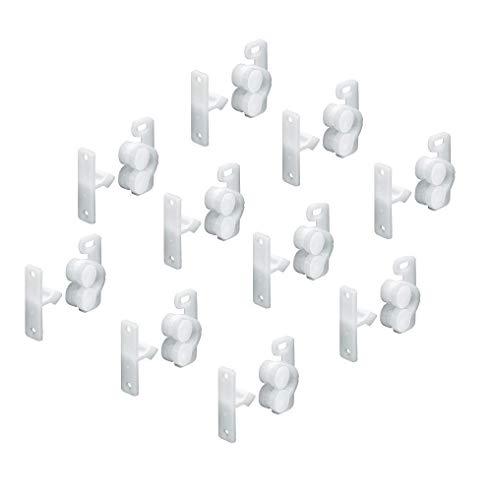Gedotec Türschnapper Schrank mit Gegenstück Rollenschnäpper zum Schrauben   Möbel-Schnäpper verstellbar mit Langloch   Kunststoff weiß   MADE IN GERMANY   10 Stück - Schrank-Schnäpper für Möbeltüren