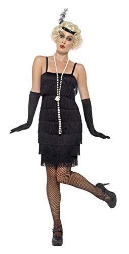 flapper kostuem Smiffys 45498S - Damen Flapper Kostüm, Kurzes Kleid, Haarband und Handschuhe, Größe: 36-38, schwarz