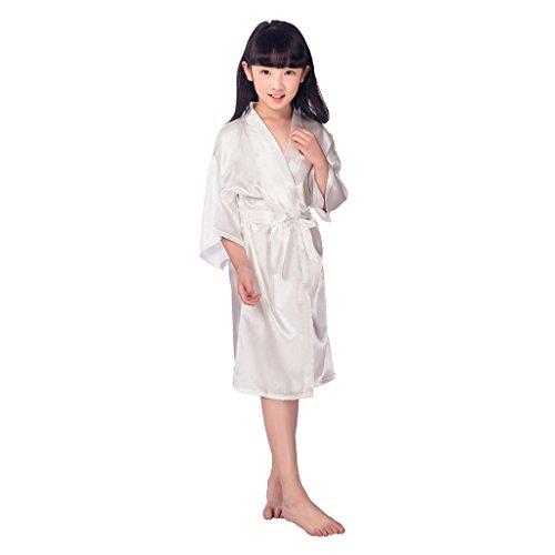 xingyueshop Girl's Satin Robes Sleepwear Dressing Gown Girls's Satin Kimono White 4