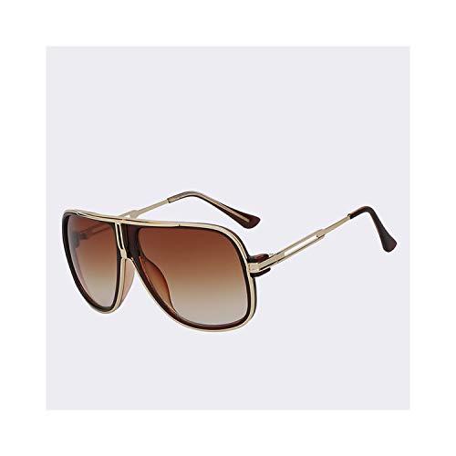 Sportbrillen, Angeln Golfbrille,Sunglasses Men Summer Style Sunglasses Square Gold Women Brand Designer Sun Glasses Men Oculos De Sol Masculino Brown w brown lens