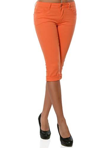 Daleus Damen High-Waist Capri Jeans Kurze Sommerhose DA 15990 Farbe Lachs Größe M / 38 -