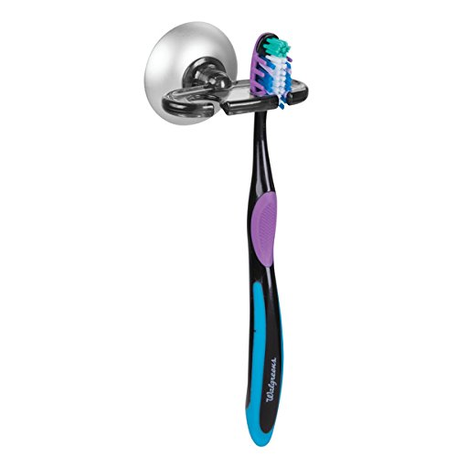 mDesign Zahnbürstenhalter Saugnapf - aus Kunststoff & rostfreiem Aluminium - praktische Halterung für Zahnbürsten - Zahnbürstenhalterung Wandmontage - Grau/Silber