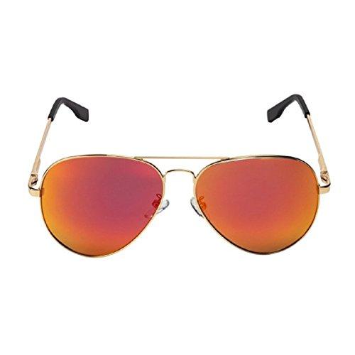 Feililong Prämie Voll Mirrored Pilotenbrille Flieger Sonnenbrille UV400 Schutz Optimal Entwurf Herren und Frauen Aviator Sonnenbrillen (Gold Rote Linse / Goldrahmen)