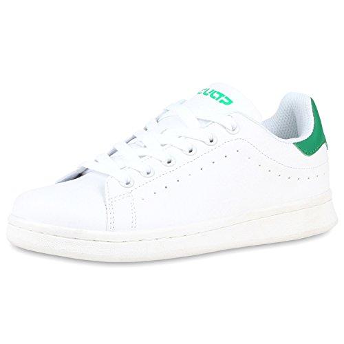 Herren Sneakers Low Turnschuhe Schnürer Weiss Grün