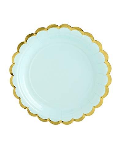 Party Teller Mint Grün mit Gold Gewelltem Rand 18cm x 6 ()